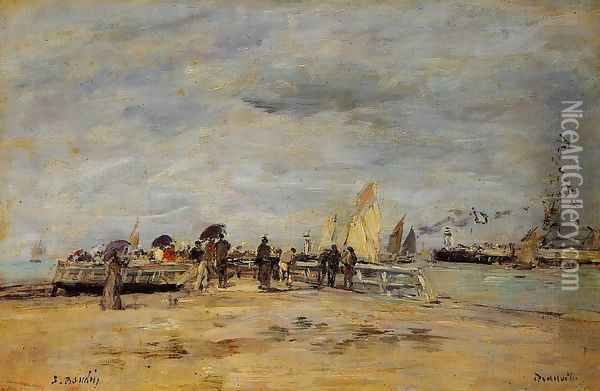 Deauville the Jetty 1888-1895 Oil Painting - Eugene Boudin