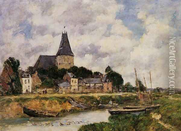 Quillebeuf, View of the Church from the Canal Oil Painting - Eugene Boudin