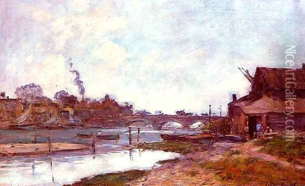 Bridge on the River Touques at Deauville 1895 Oil Painting - Eugene Boudin