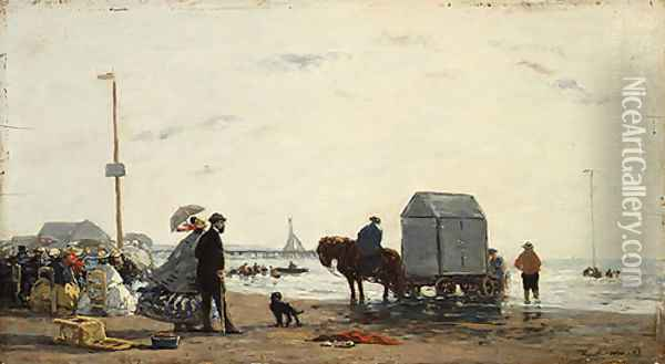 On the Beach at Trouville 1863 Oil Painting - Eugene Boudin