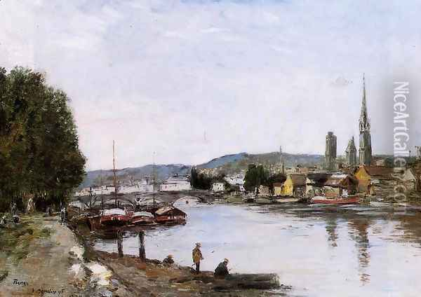 Rouen View over the River Seine 1895 Oil Painting - Eugene Boudin
