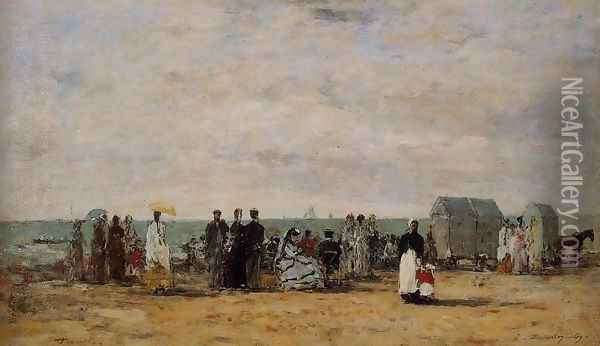 The Beach at Trouville 1869 Oil Painting - Eugene Boudin