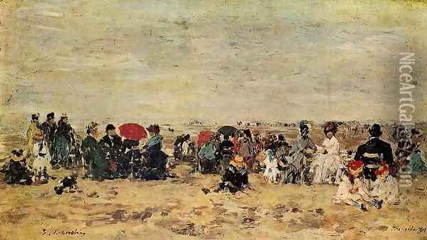 The Beach at Trouville 1880 Oil Painting - Eugene Boudin