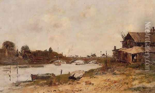 Bridge over the Touques at Deauville 1895 Oil Painting - Eugene Boudin