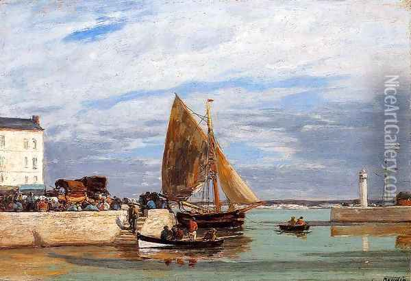 Honfleur Three Master in Port2 1880-1885 Oil Painting - Eugene Boudin
