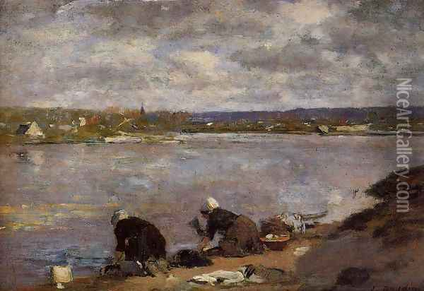 Laundresses on the Banks of the Touques2 1880-1885 Oil Painting - Eugene Boudin