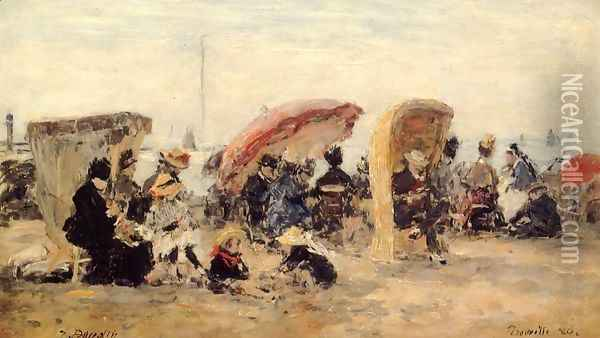 Trouville Beach Scene 1886 Oil Painting - Eugene Boudin