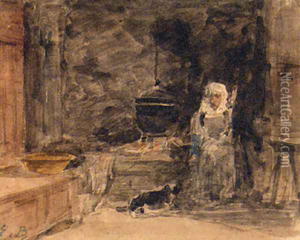 An Elderly Lady In A Kitchen Oil Painting - Eugene Boudin