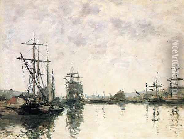 Deauville the Basin 1890 Oil Painting - Eugene Boudin