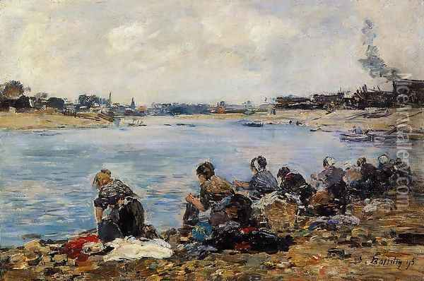 Laundresses on the Banks of the Touques2 1895 Oil Painting - Eugene Boudin