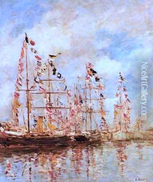 Sailing Ships at Deauville Oil Painting - Eugene Boudin