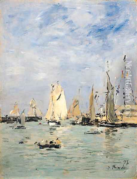 Trouville, Les jetes mare haute (Trouville, The Pier at Hightide) Oil Painting - Eugene Boudin