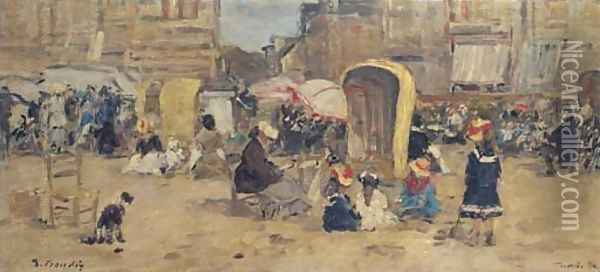The Beach at Trouville 05 Oil Painting - Eugene Boudin