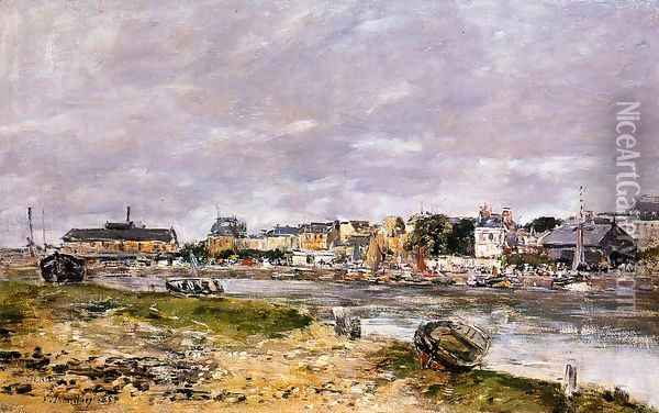 The Port of Trouville the Market Place and the Ferry 1884 Oil Painting - Eugene Boudin