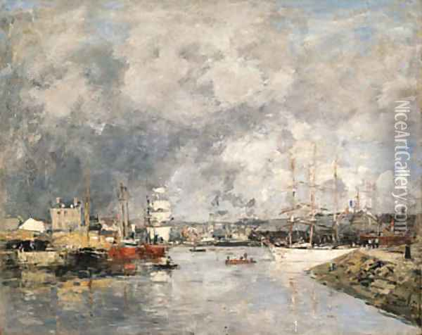 Dieppe, Le port (The Port of Dieppe) Oil Painting - Eugene Boudin