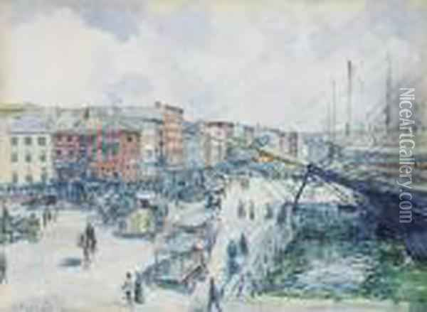 ''south Street At The Foot Of Wall Street'' Oil Painting - Louis Charles Vogt