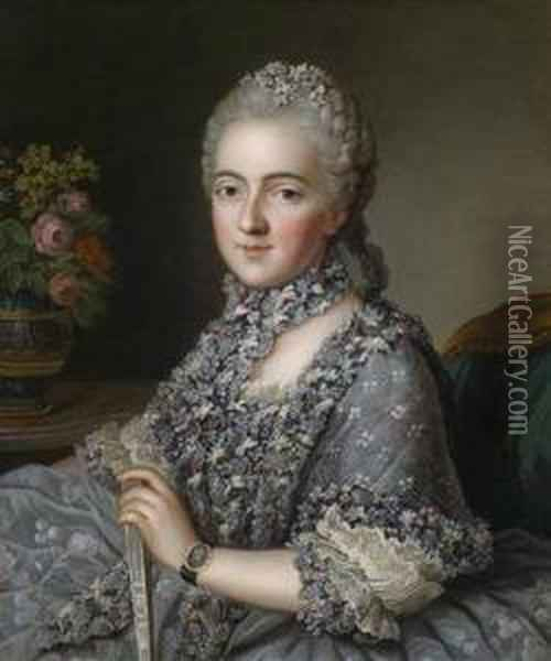 Portrait Of A Richly Dressed Lady Oil Painting - Guillaume Voiriot