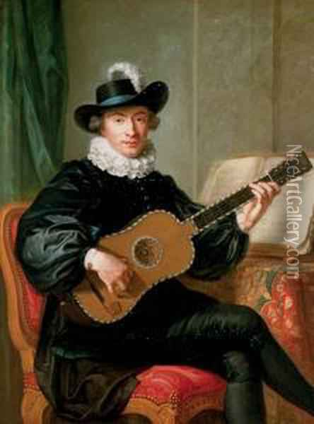 Portrait Of Monsieur Aublet, Three-quarter-length, Seated, In A Black Fancy Costume And Playing A Five-course Guitar, A Sheet Of Music On A Table Beside Him Oil Painting - Guillaume Voiriot