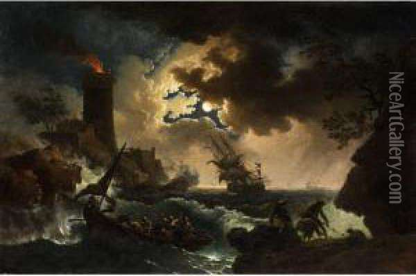 Nachtliches Marinestuck Oil Painting - Pierre-Jacques Volaire