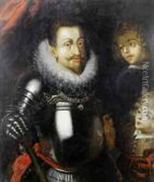 Portrait Of A Nobleman, Possibly The Emperor Rudolph Ii, Three-quarter-length, In Armour, Wearing The Order Of The Golden Fleece Oil Painting - Hans Von Aachen