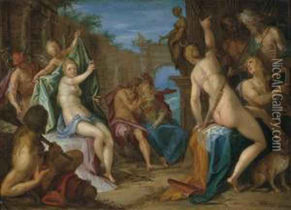 An Assembly Of The Gods, With Jupiter Embracing Minerva, Venusconfronting Diana Observed By Hercules, Mercury, Cupid And Apollo,and Neptune And Hades Conversing, In Classical Ruins Oil Painting - Hans Von Aachen