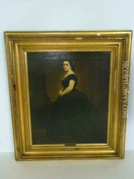 Portrait Of A Woman In Black Dress. Oil Painting - Baron Heinrich von Angeli