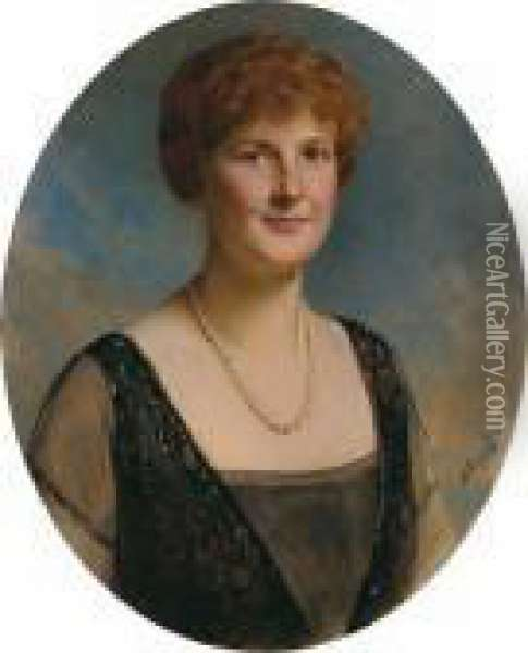 Portrait Of A Lady With A Pearl Necklace Oil Painting - Baron Heinrich von Angeli