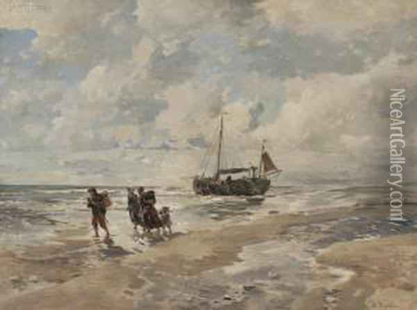Shore View With Fisherfolk,  Ketch,  Andhorse Cart Oil Painting - Gregor Von Bochmann