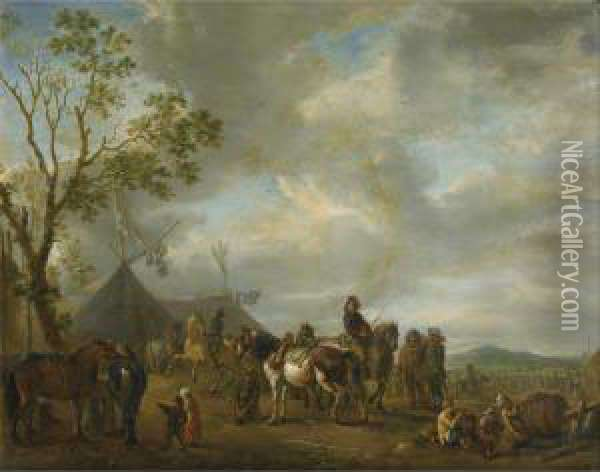 Scene De Campement Militaire Oil Painting - Carel van Falens or Valens