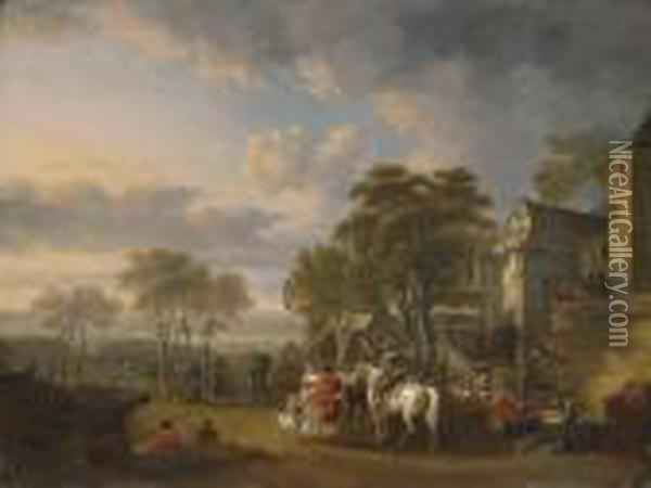 Cavalrymen At Rest By An Inn, A Military Encampment Beyond Oil Painting - Carel van Falens or Valens
