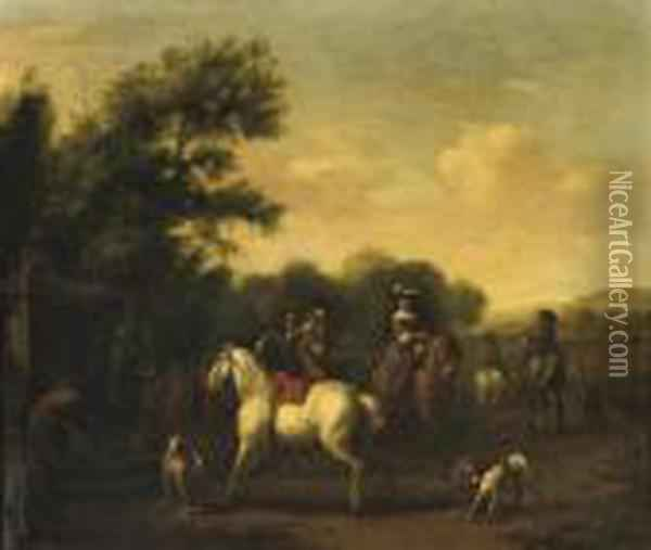 A Hunting Party Resting At A Well In A Wooded Landscape Oil Painting - Carel van Falens or Valens