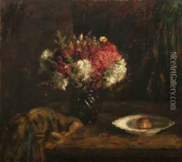 Still Life With Red And White Flowers Oil Painting - Mihaly Munkacsy