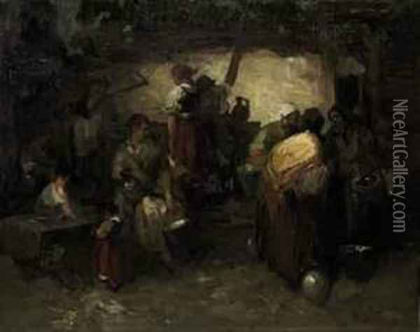 In The Barn Oil Painting - Mihaly Munkacsy