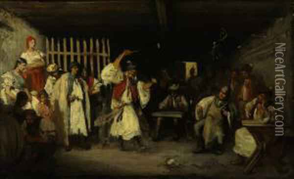 Performance In A Tavern Oil Painting - Mihaly Munkacsy