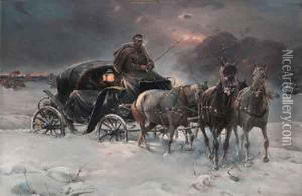 Traveller On A Winter Night Oil Painting - Alfred Wierusz-Kowalski
