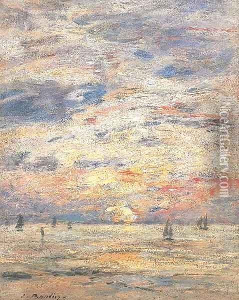 Maree basse Rivage Oil Painting - Eugene Boudin