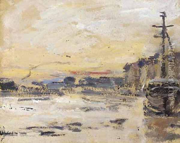 Port a maree basse Oil Painting - Eugene Boudin