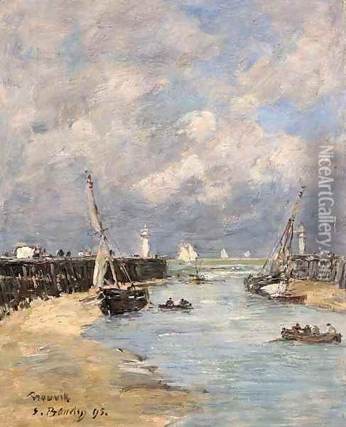 Trouville Les jetees Maree basse Oil Painting - Eugene Boudin