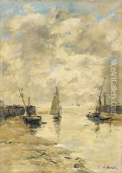 Trouville Les jetees Maree basse 2 Oil Painting - Eugene Boudin