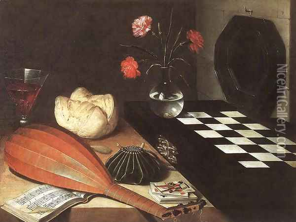 Still-life with Chessboard (The Five Senses) 1630 Oil Painting - Lubin Baugin