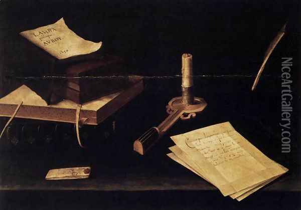 Still-Life with Candle 1630 Oil Painting - Lubin Baugin