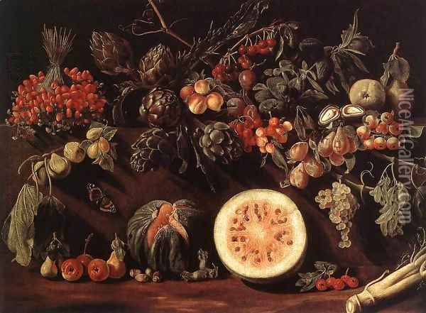 Fruit, Vegetables and a Butterfly c. 1620 Oil Painting - Pietro Paolo Bonzi