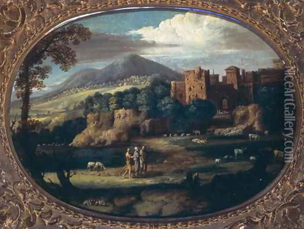 Landscape with the Aged and Blind Tobit Oil Painting - Pietro Paolo Bonzi