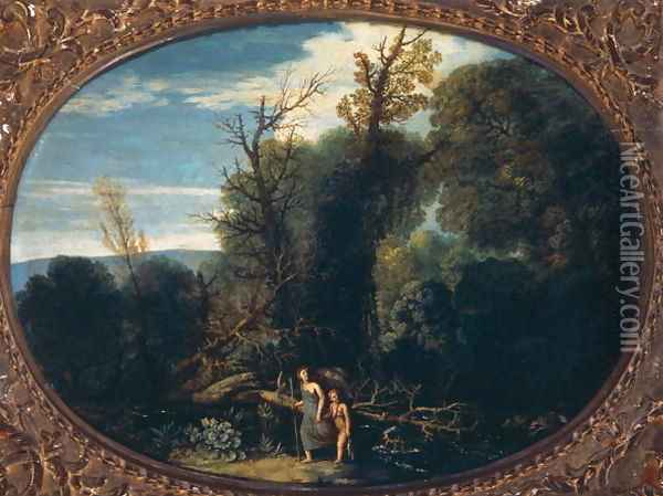 Landscape with Tobias and the Angel Oil Painting - Pietro Paolo Bonzi