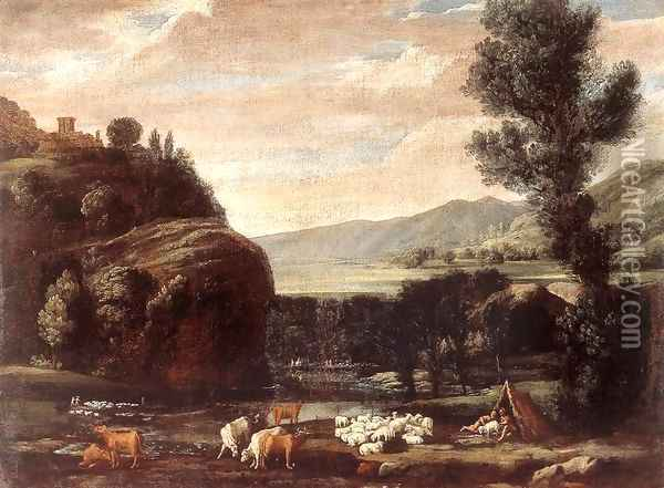 Landscape with Shepherds and Sheep Oil Painting - Pietro Paolo Bonzi