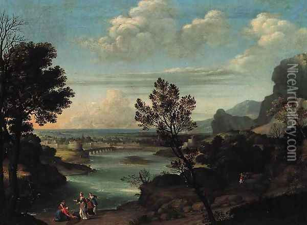 An extensive river landscape with the Finding of Moses Oil Painting - Pietro Paolo Bonzi