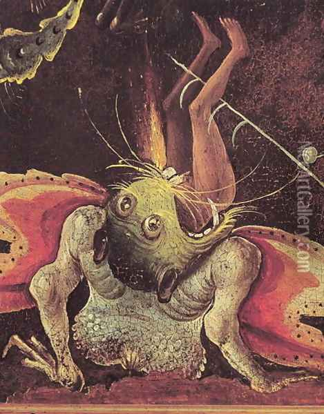 The Last Judgement (detail of a man being eaten by a monster) c.1504 Oil Painting - Hieronymous Bosch