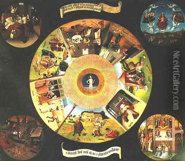 Seven Deadly Sins or The Table of Wisdom Oil Painting - Hieronymous Bosch