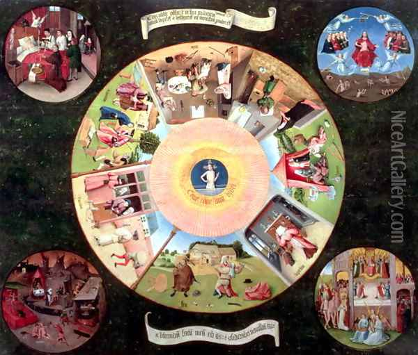 Tabletop of the Seven Deadly Sins and the Four Last Things (1) Oil Painting - Hieronymous Bosch