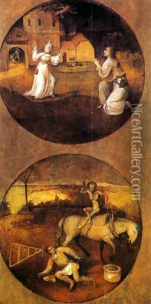 Mankind Beset by Devils (reverse of Rebel Angels panel) 1500-04 Oil Painting - Hieronymous Bosch